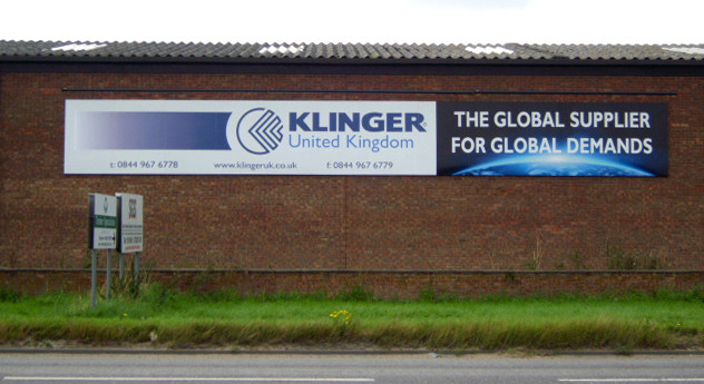 Klinger: Tray sign with printed vinyl graphics.