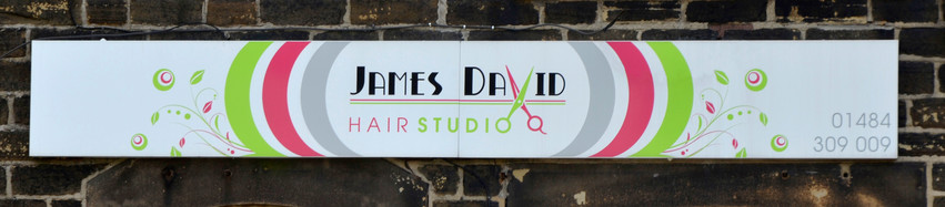 James David: Tray sign with printed vinyl graphics.