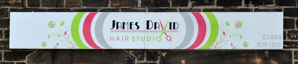 James David: Tray sign with printed vinyl graphics.