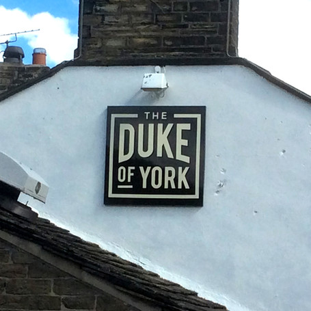 The Duke of York: Tray sign with vinyl graphics.