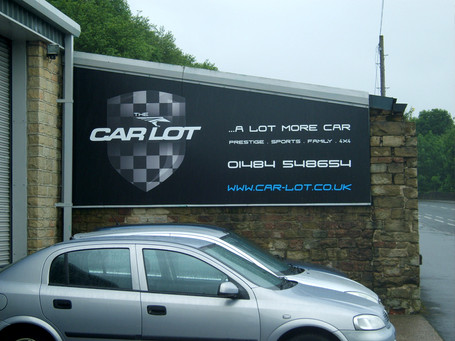 Car Lot: Flat sign in aluminium frame with printed graphics.