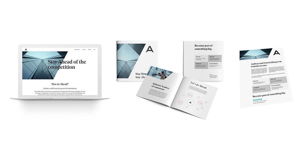 Ahead application examples: Website, brochure, leaflet