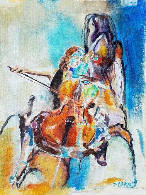"""The Cellist,"" acrylic/canvas sheet"