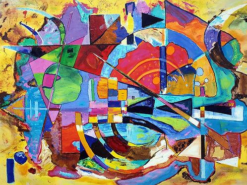 """The Big Bang,"" acrylic/canvas 48x60 inches"