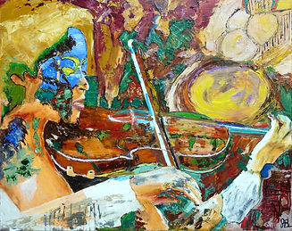 Abstract Violinist Painting by John Barney