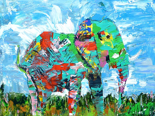 """Elephant Two""  Limited Edition, Signed, 11x14 Print. FREE Ship"