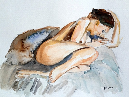 """Quiet Nude ""  Watercolor, 8x10 with 11x14 Mat, FREE Shipping"