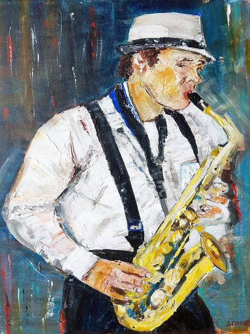 """Sax,"" acrylic/canvas 16x20 inches"