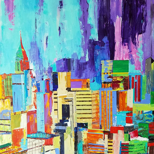 """Cityscape New York"" acrylic/canvas 36 x 36 inches"