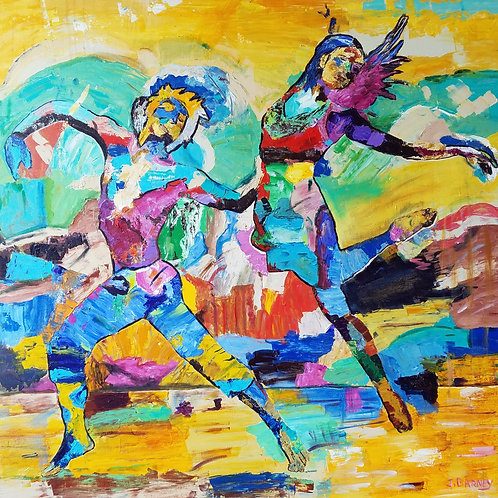 """""""Dancers"""" acrylic/canvas 36 x 36 inches"""
