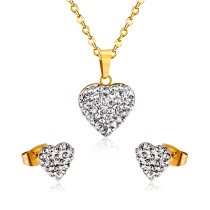 Set Corazón Zirconia Acero Inoxidable + Oro 18K