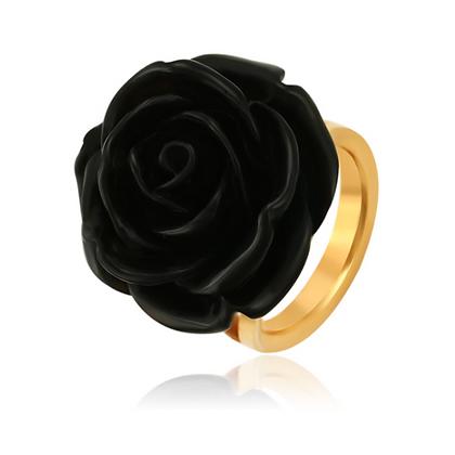 Anillo Flor Negra Acero Inoxidable + Oro 24K