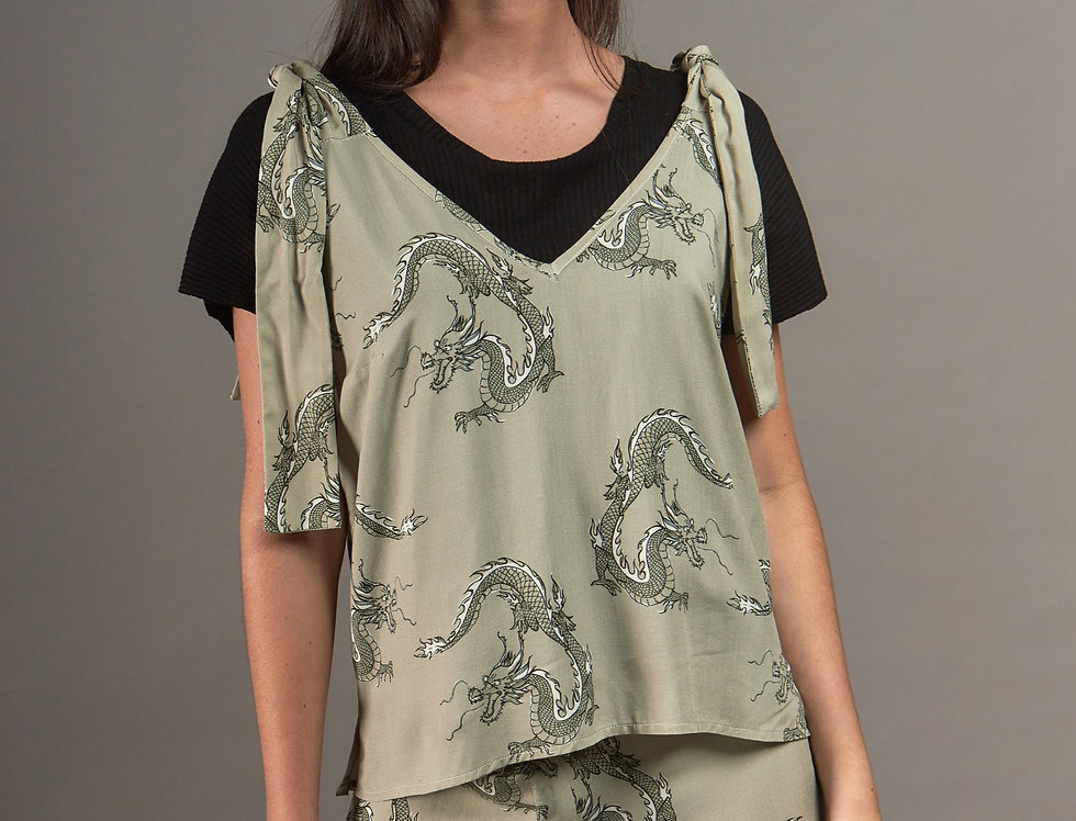 Tie knot shoulders Dragons top