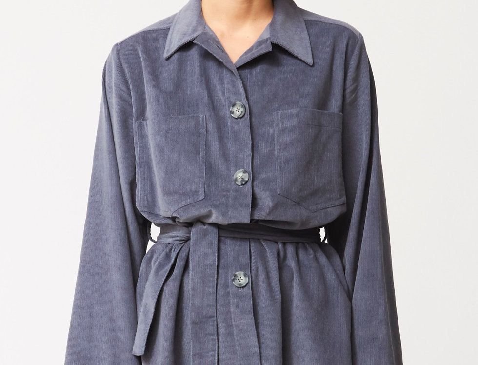 Corduroy long jacket with belt