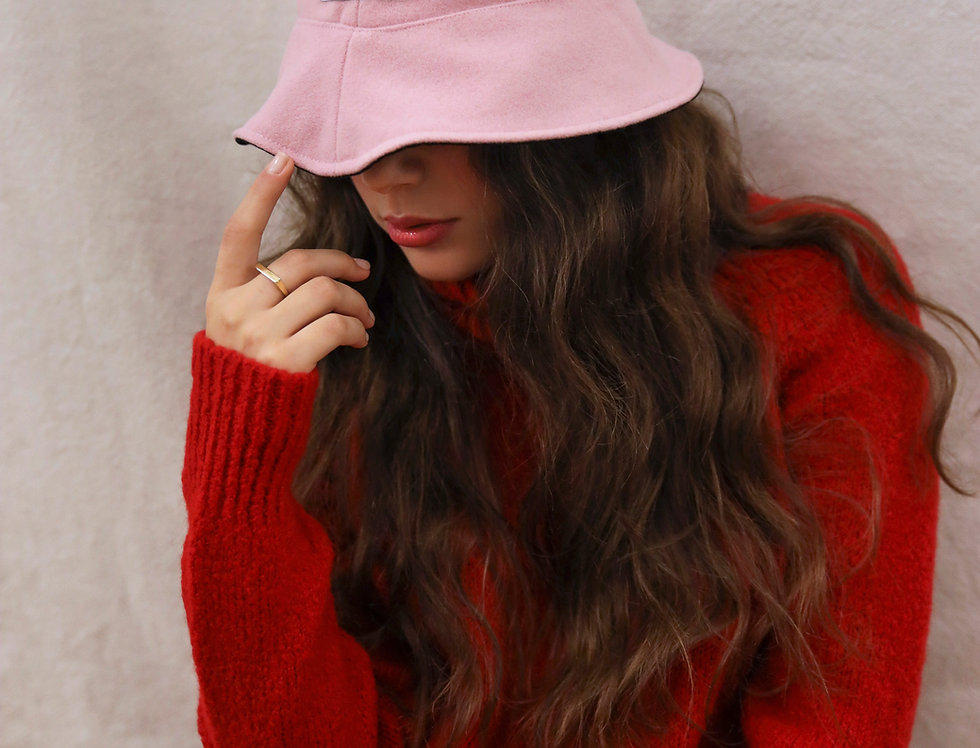 Pink & Black Reversible Bucket-Hat