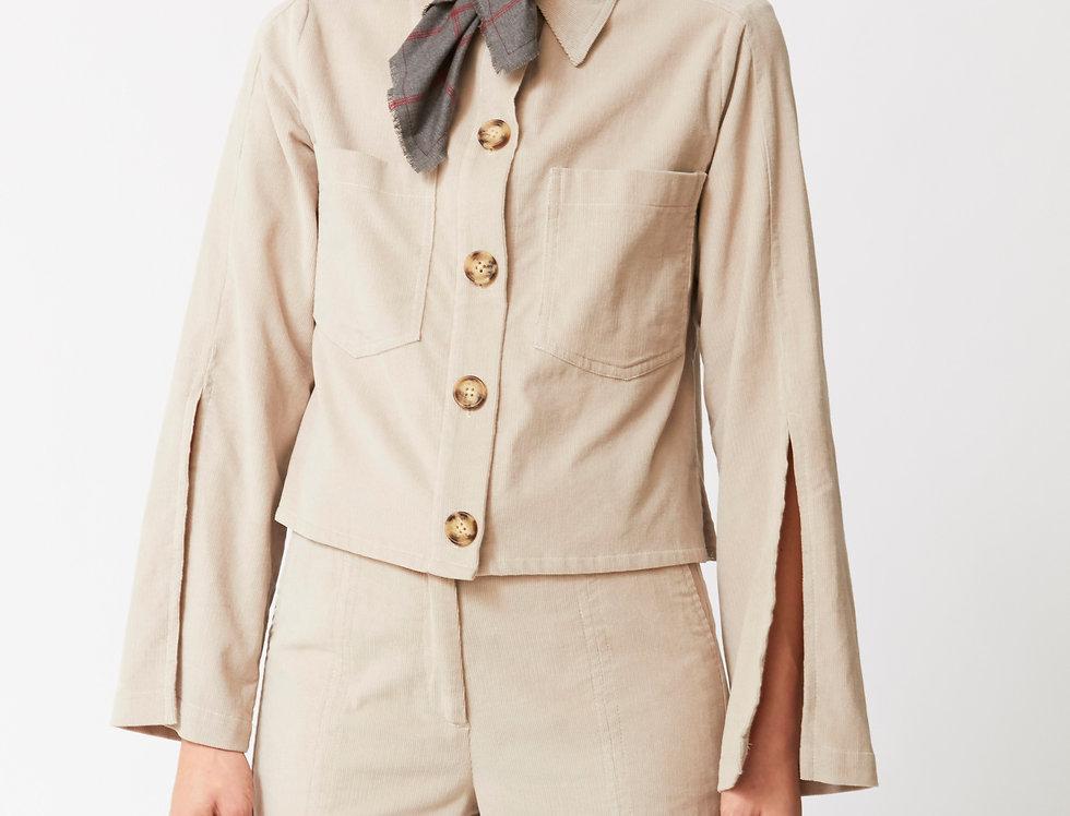 Corduroy slevee cuts jacket