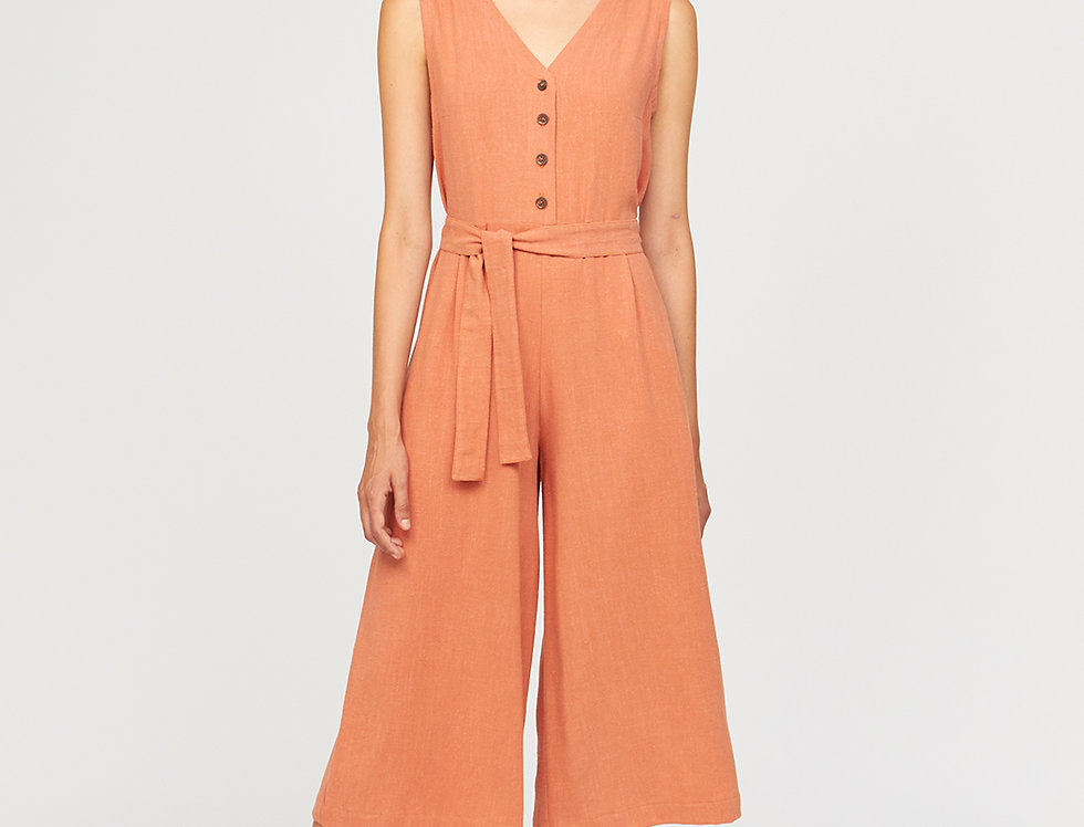Jumpsuit with recycled paper buttons