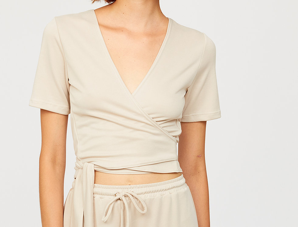 Reversible cropped wrap top