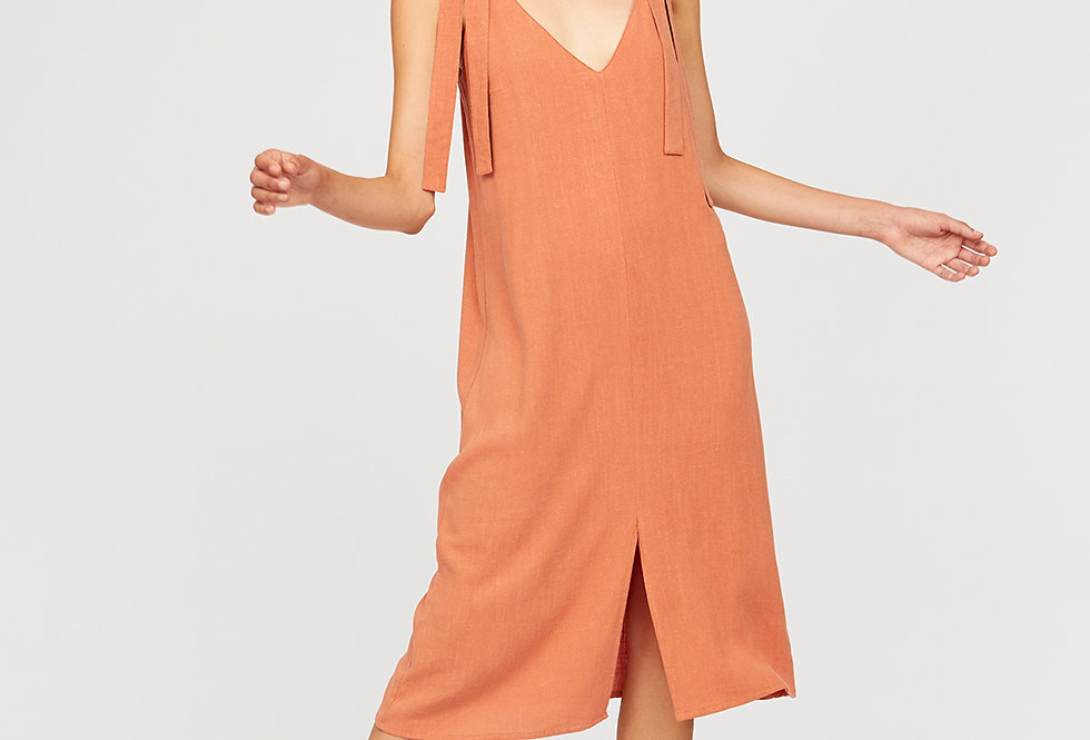 Dress with tie shoulder knot