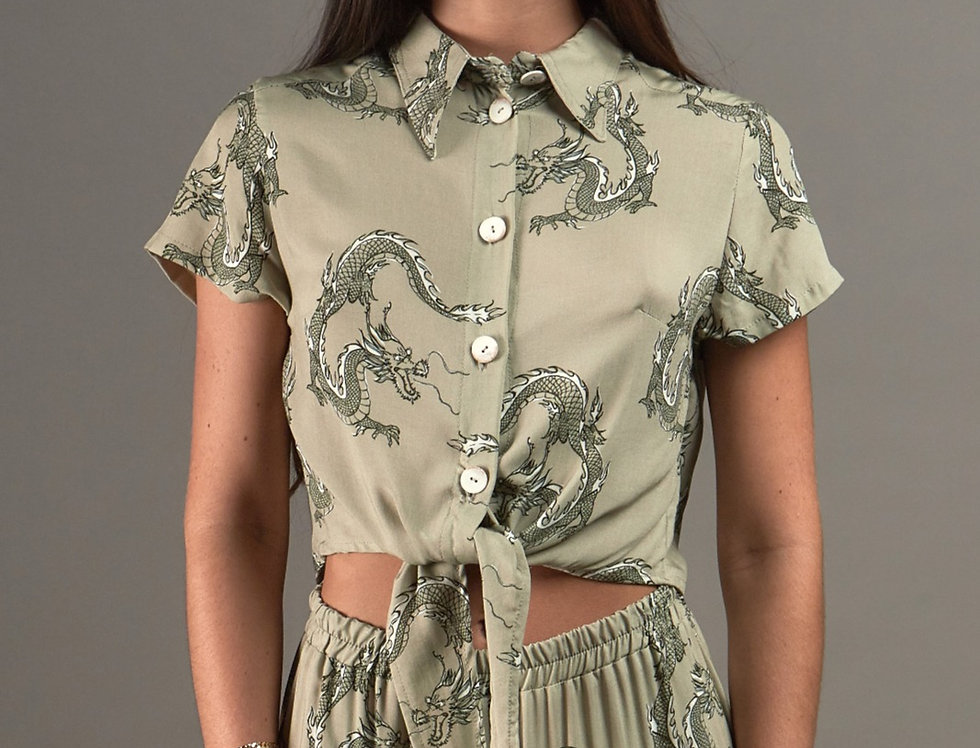 Printed cropped knot shirt