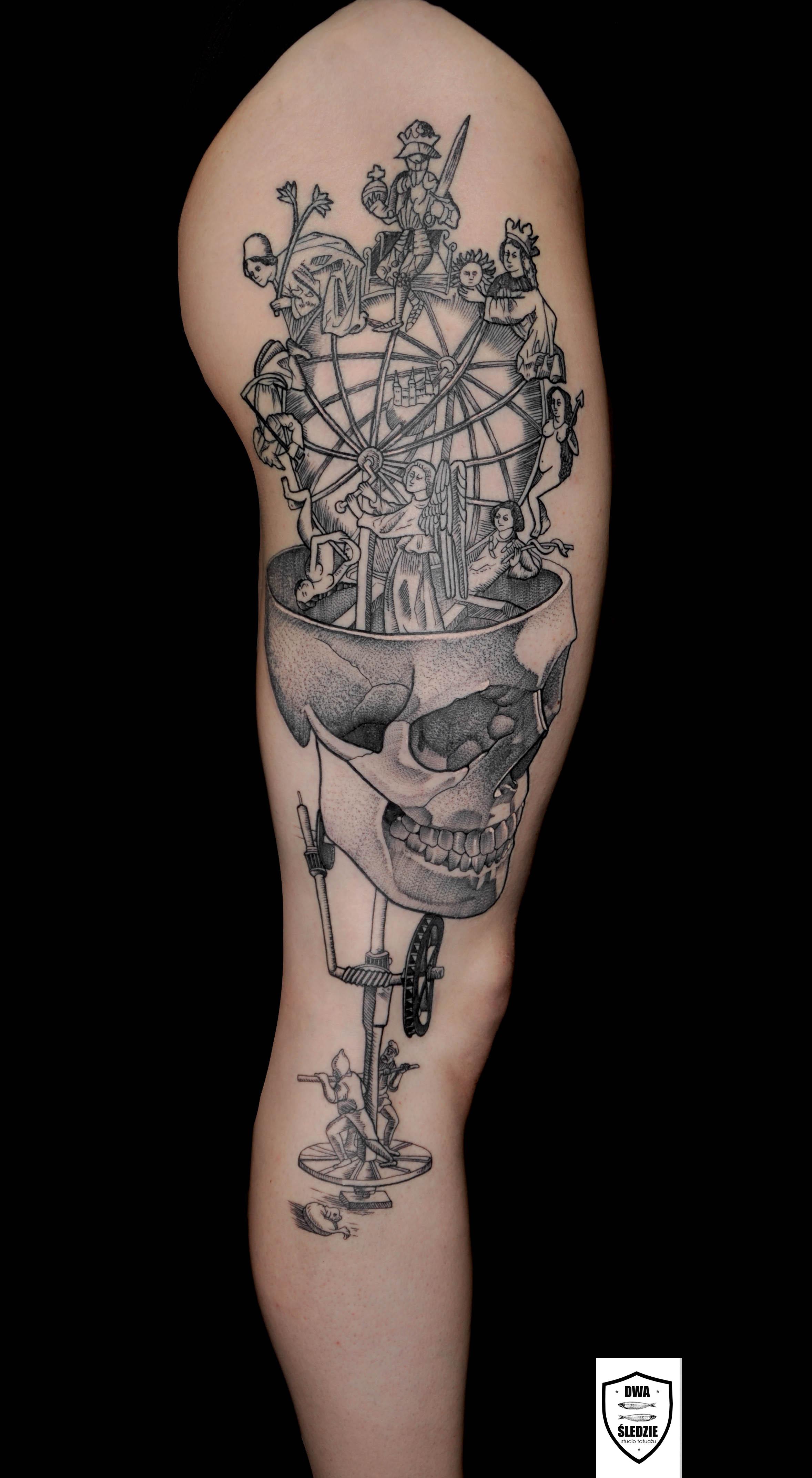 tatuaż graficzny, noga