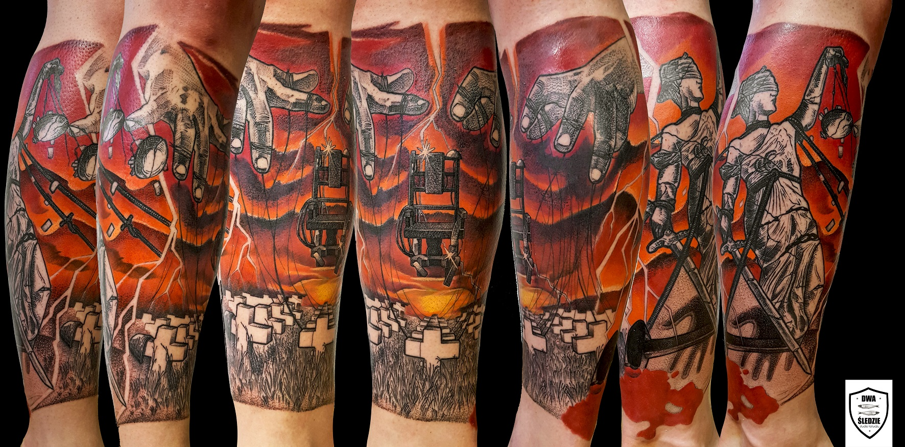 tatuaż Metallica, noga