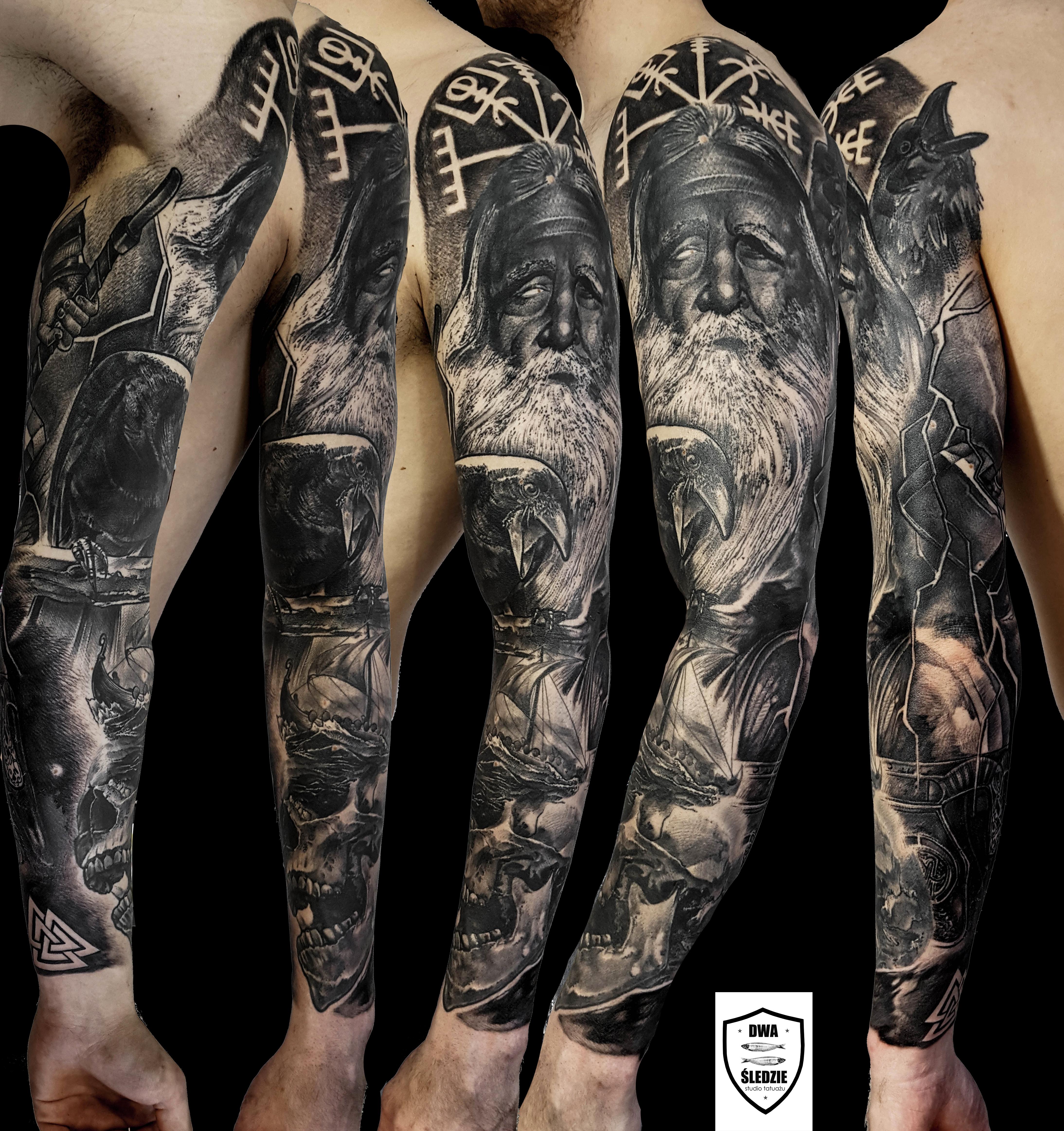 tatuaż Odyn, Wikingowie, rękaw