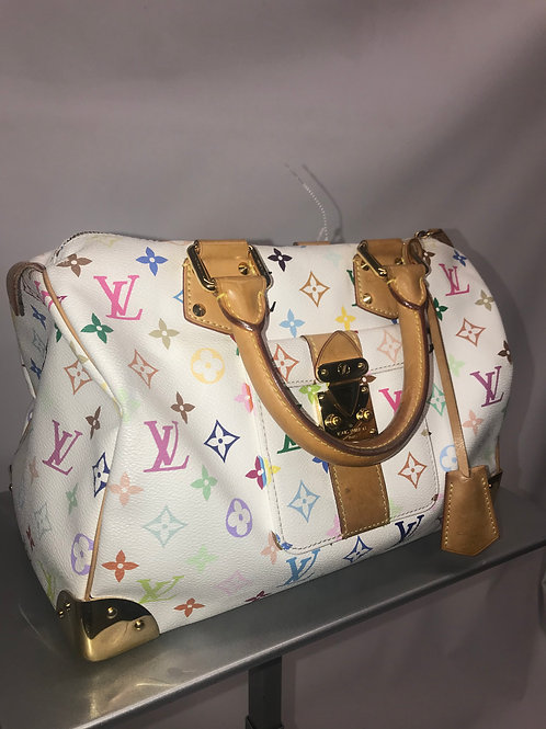 Louis Vuitton Speedy 30  White Multicolor