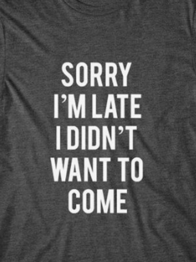 Sorry I am late I didn't want to come