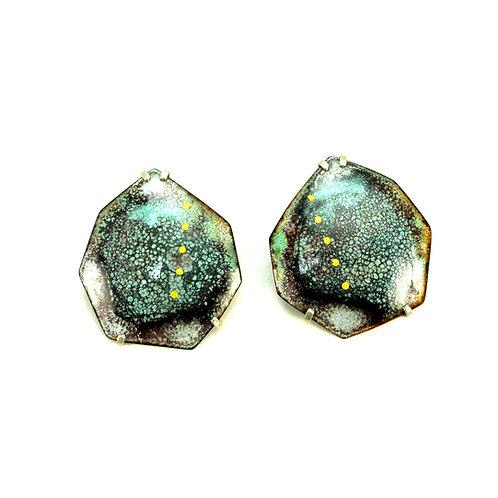 Industrial Enameled Stud Earrings with Sterling Silver Posts