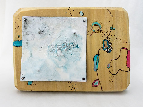 Pyrography and Vitreous Enamel wall piece #2