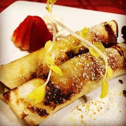 Panqueque flameado El Gaucho Inca menu