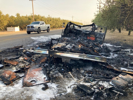 Camper Burning to Ground on Jack Tone Road Sends Plums of Black Smoke Seen for Miles Away