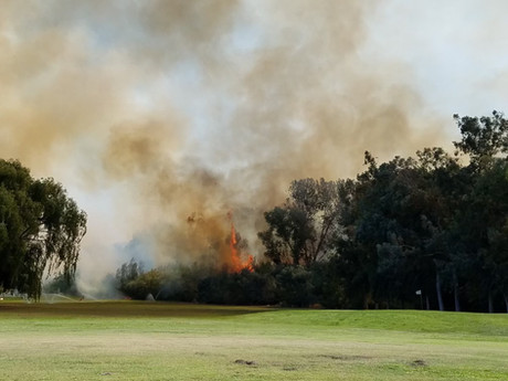 River Bottom Fire Encroaches On Jack Tone Golf Course and Custom Homes