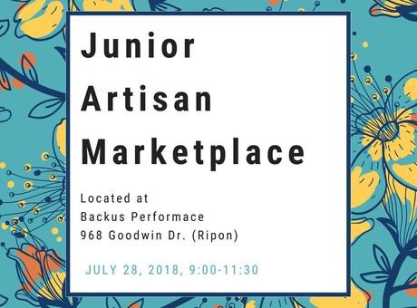 Junior Artisan Marketplace – Saturday the 28th