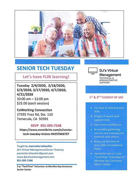 Senior Tech Tuesday for Feb, Mar, Apr 20