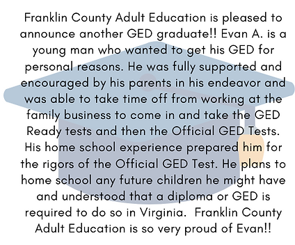 We have another GED graduate here in Fra