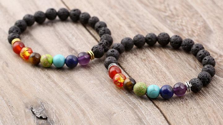 7 Chakra Bracelet Lava Rock Aromatherapy Essential Oil Diffuser Natural Stone