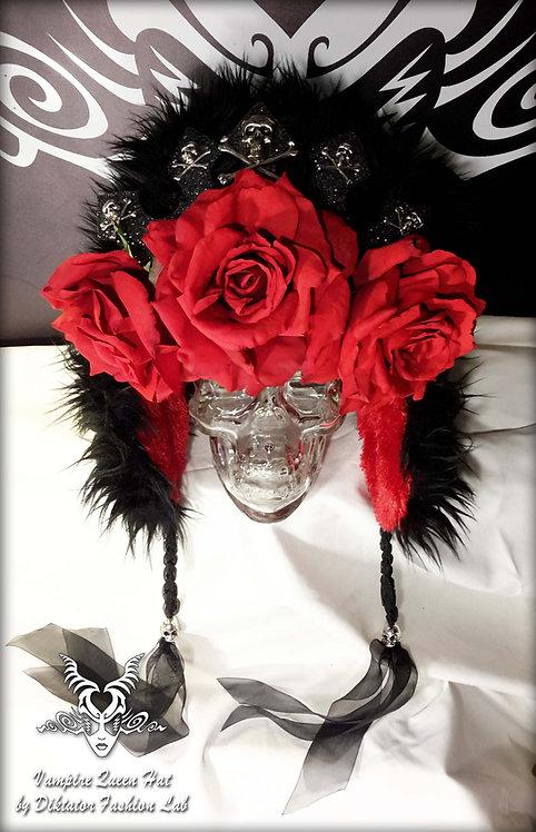 Vampire Queen Beanie Black Trapper Hat Fuzzy Russian Cap Red Rose Headdress Silv