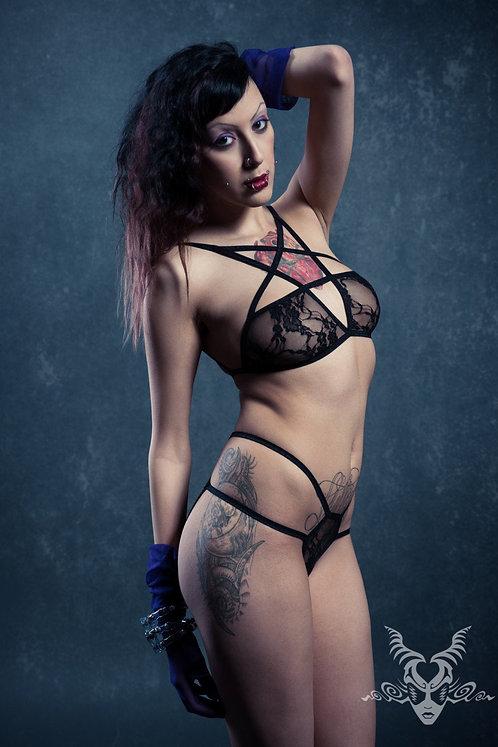 Pentagram Lingerie Set in Black Lace