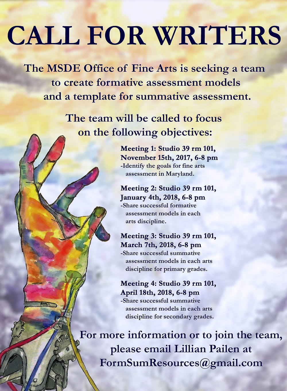 Call for writers from the MSDE Fine Arts Office