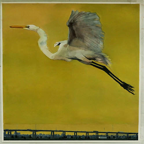 Egret and the Yellow Sky