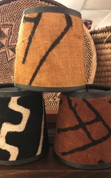 Mud cloth lampshades