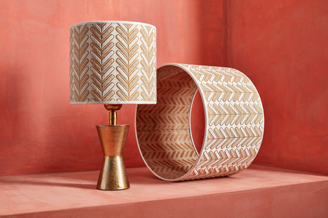 Customized lampshades by De CAMER available in lot's of sizes colors fabrics and wallpapers
