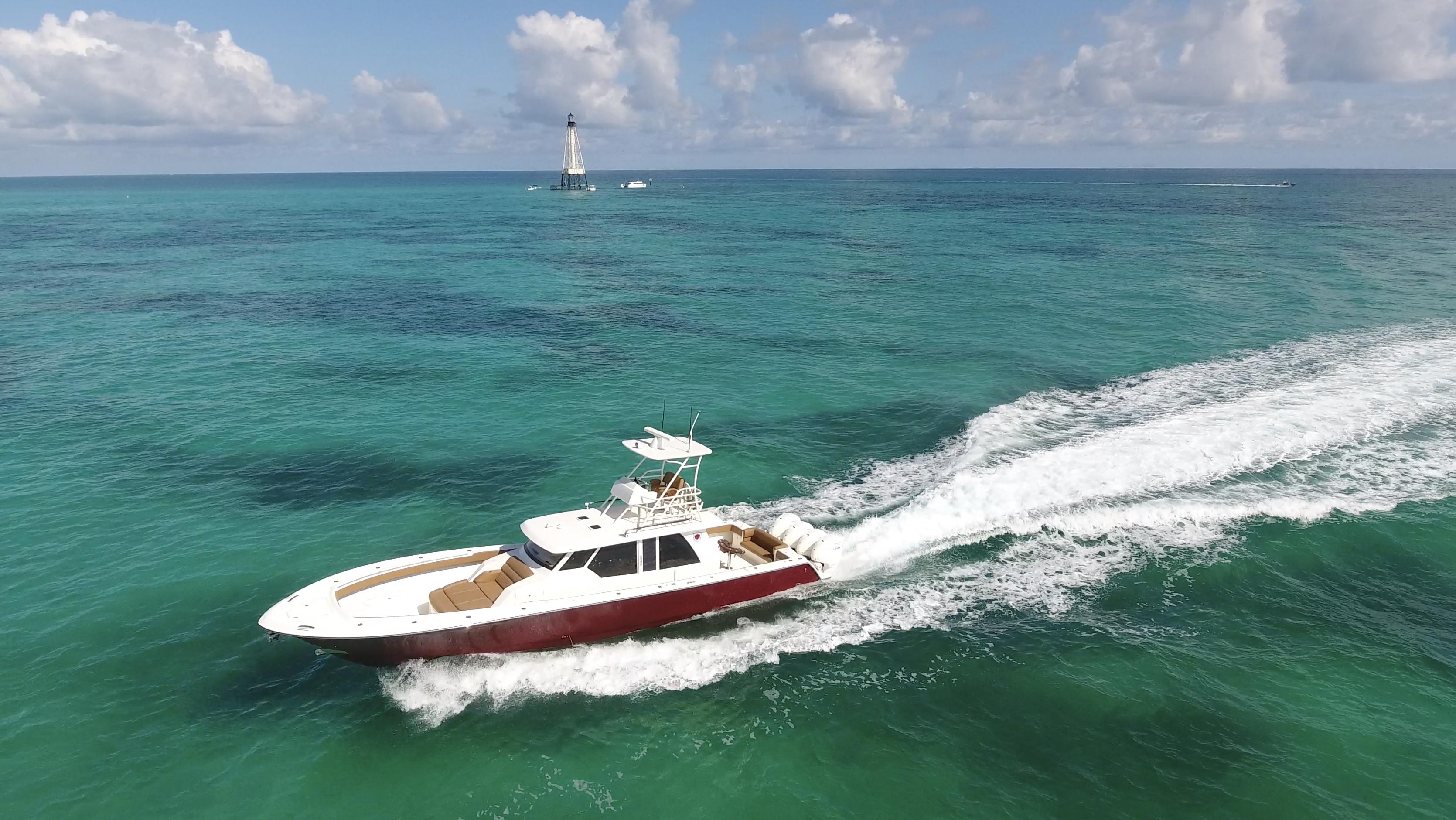 gulfstream yachts 52 metallic red overhe