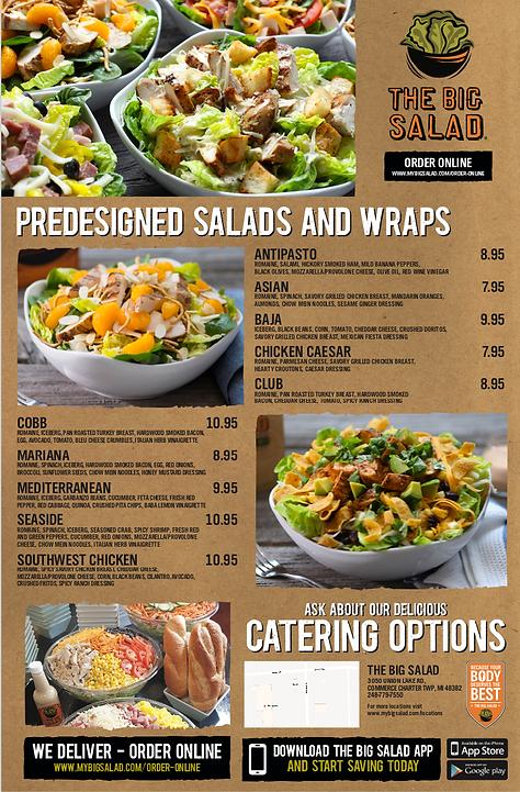 The Big Salad Menu | Best of Detroit Restaurants
