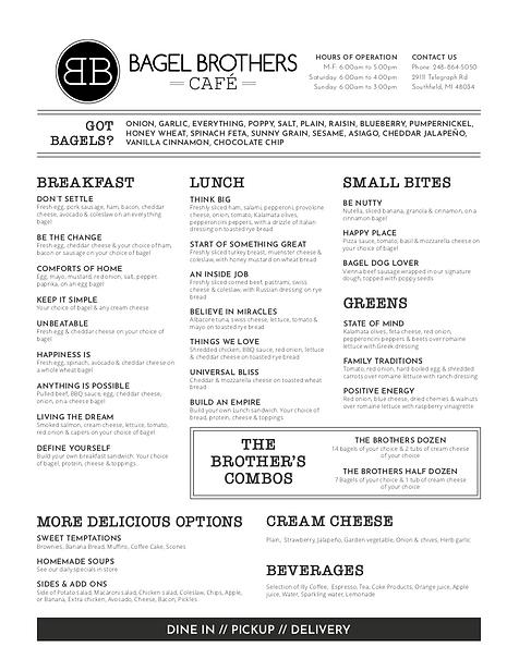 Bagel Brothers Cafe Menu | Best Bagels In Detroit