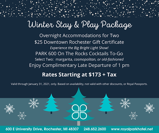 January 2021 Rooms Package | Royal Park Hotel and Park 600 in Rochester, Michigan