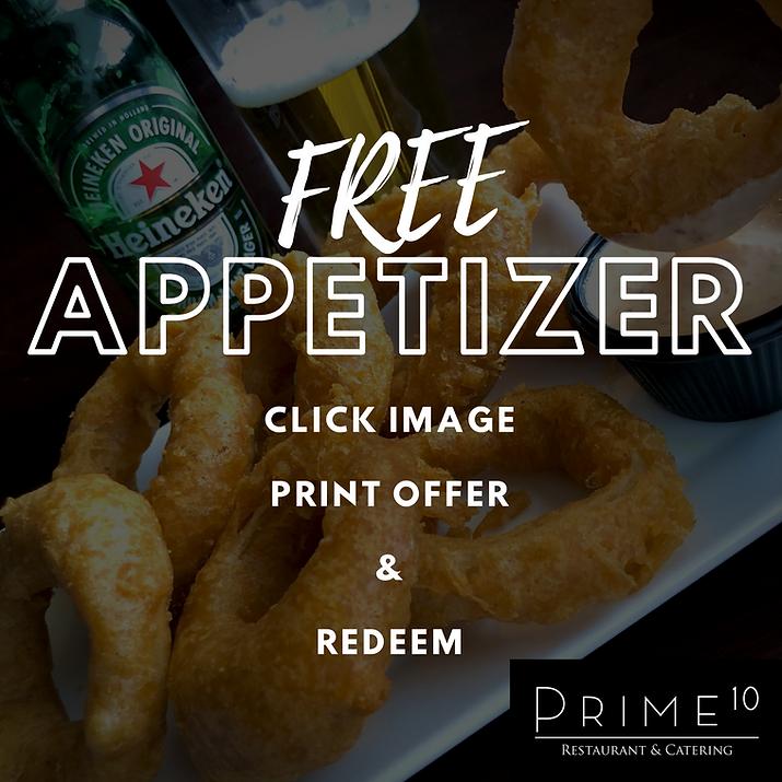 Prime 10 Restaurant | Free Appetizer Off