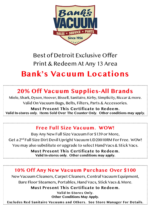 Detroit's Best vacuum Deals | Bank's Vacuum